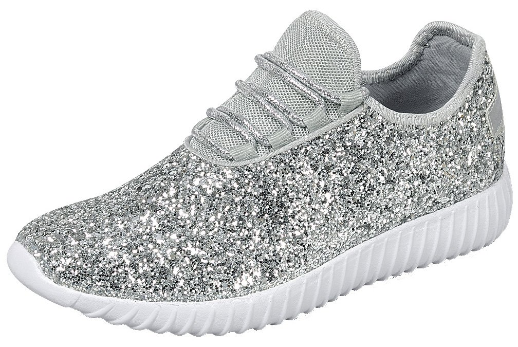 Cambridge Select Women's Closed Toe Glitter Encrusted Lace-up Casual Sport Fashion Sneaker B07D2JC5MW 8 B(M) US|Silver