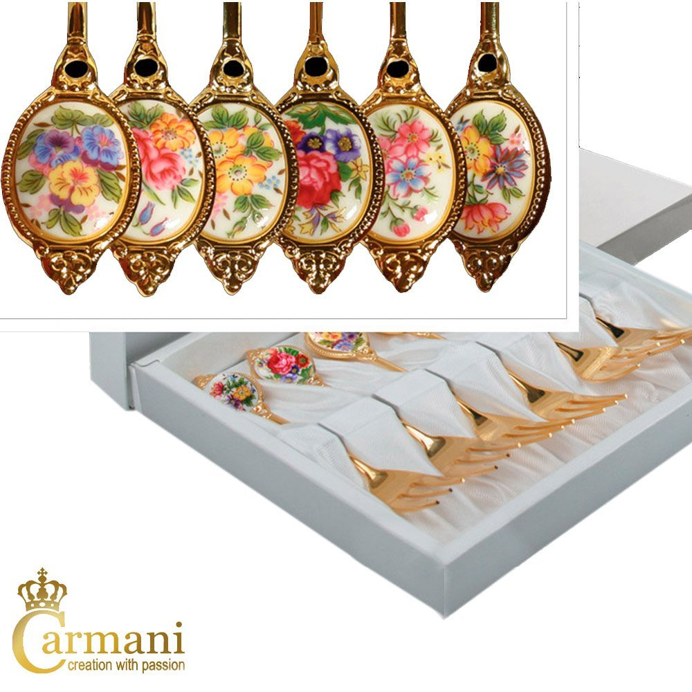 CARMANI - Set of 6 Dessert fork decorated with flower theme in gift box