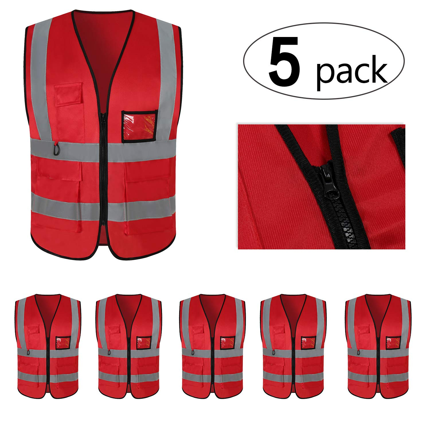 Mount Marter Reflective Safety Vest with 5 Pockets,Reflective Strips,Universal Size,5 Pack
