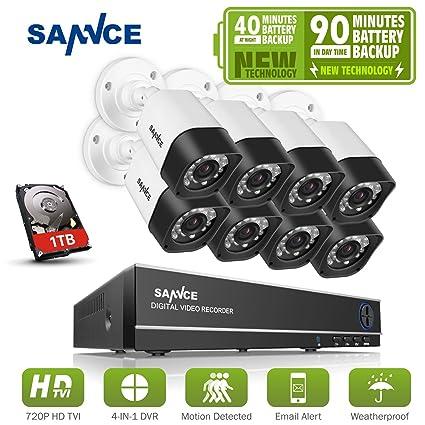 SANNCE Kits de sistema seguridad con Batería 8 cámaras de vigilancia (H.264 Onvif