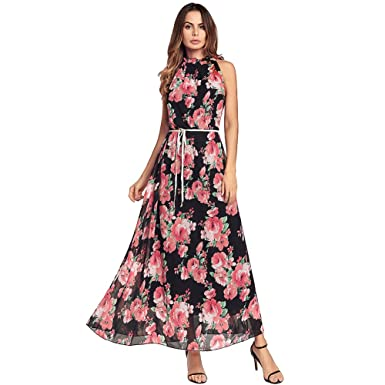 Summer Floral Maxi Dresses with Sleeves