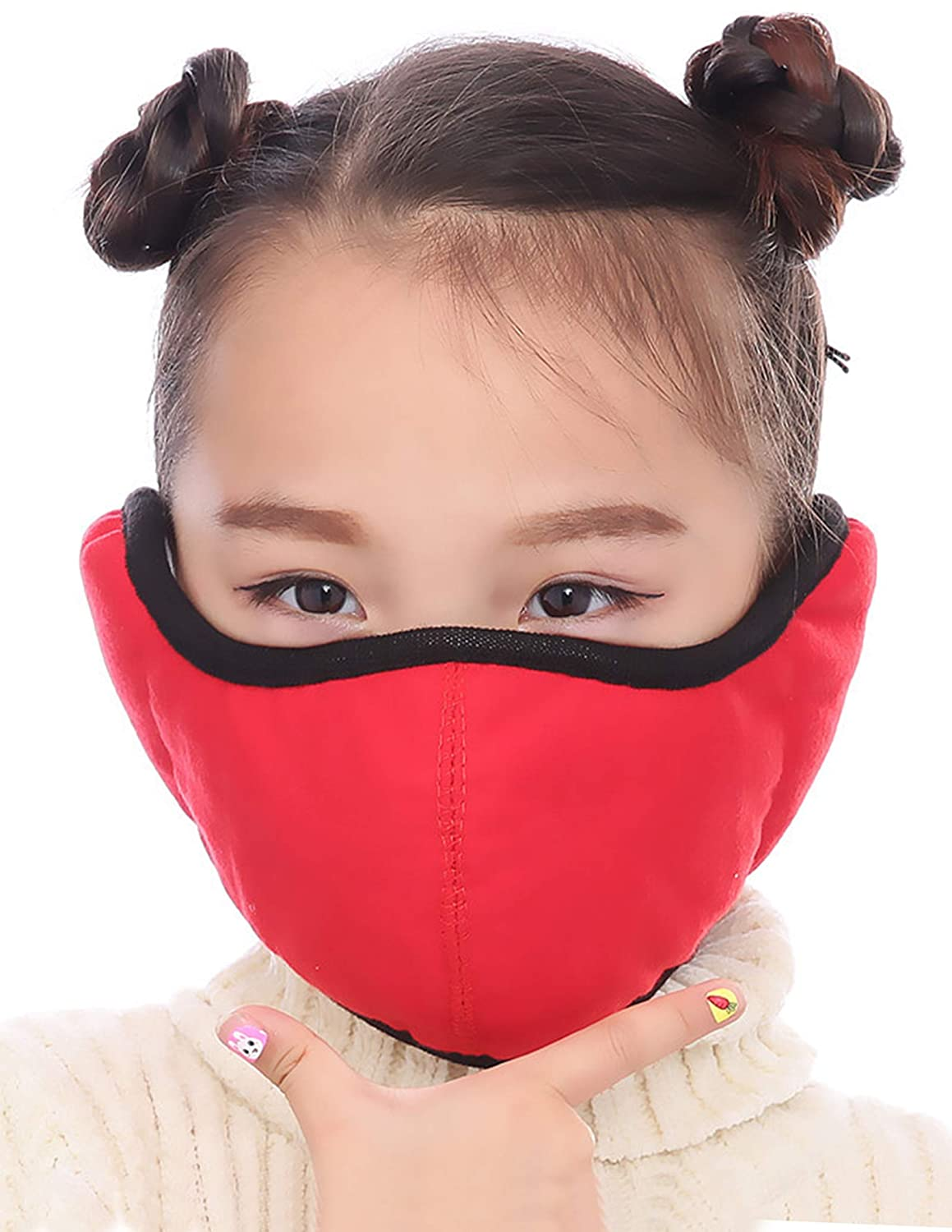Kids Face Cover with Earmuff Quilted Windproof Washable Cotton Warm Face Mask