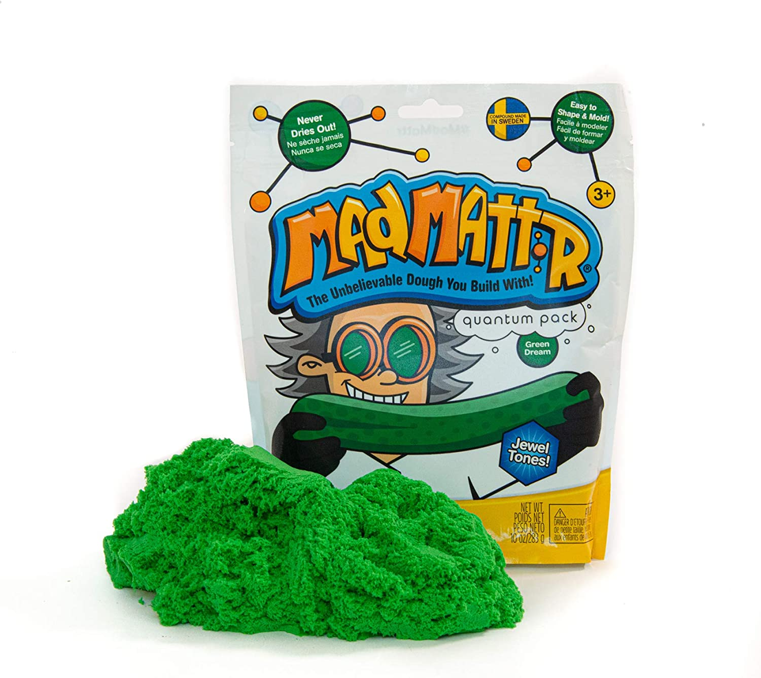 10 Ounces Soft Modelling Dough Compound That Never Dries Out Green Dream, 10oz MAD MATTR Jewel Tones by Relevant Play