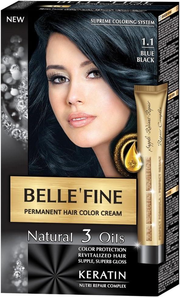 BELLEFINE® - Black Series - Tinte permanente natural - Con 3 aceites y queratina - Negro azulado