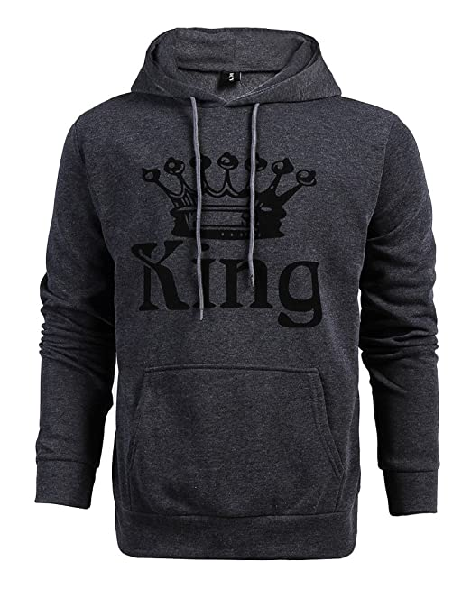 Tomwell Hombre Y Mujer Moda King Queen Impresión Sudaderas con Capucha Manga Larga Pullover Camisas Jersey Hoodies Parejas Tops D King Gris Oscuro EU XS: ...