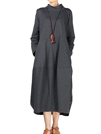 Women's Autumn Turtleneck Long Baggy Dress with Pockets