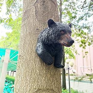 Tree Decor Outdoor Scuplture Baby Bear Up a Tree Garden Peeker Tree Hugger Outdoor Tree Sculpture - Gifts and Garden Décor Tree Hugger Faces for Trees Bear Cub Resin Sculpture Xiong