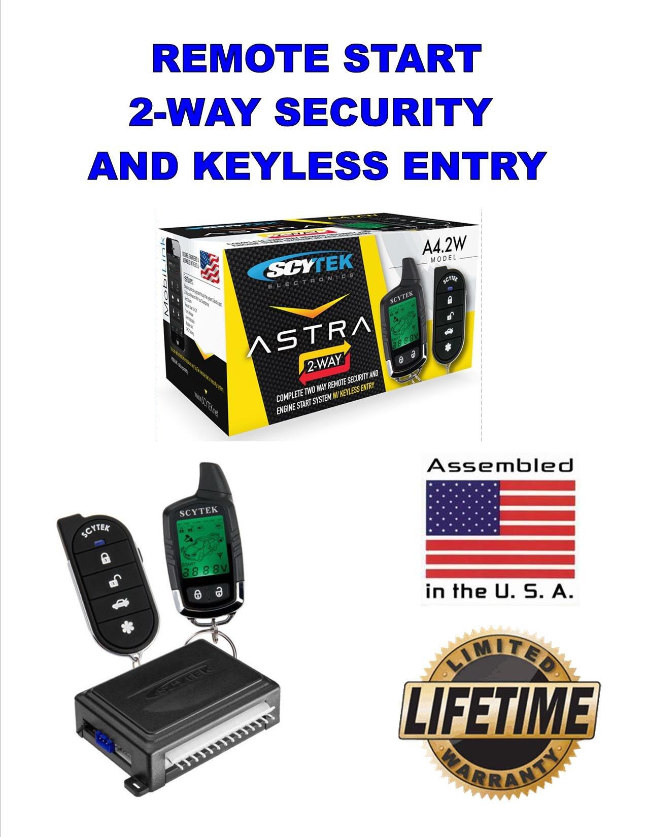 Car Alarm Security System, Keyless Entry 2-Way LCD Remote Start Scytek A4.2W by Astra