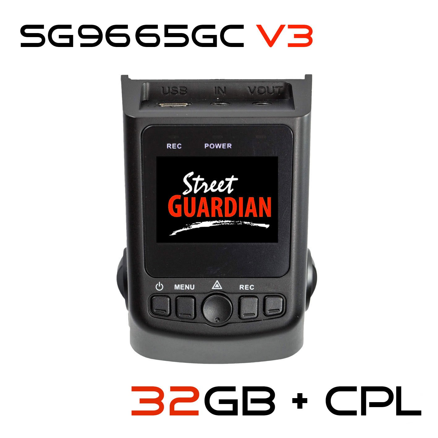 Street Guardian SG9665GC v3 Edition + 32GB microSD Card + CPL + USB/OTG Android Card Reader + GPS, Supercapacitor Sony Exmor IMX322 WDR CMOS Sensor DashCam 1080P 30FPS (Best of - DashCamTalk)