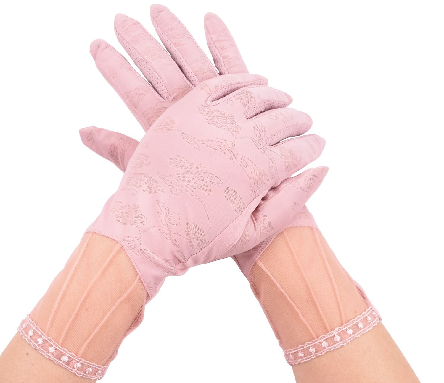 Womens Pink UV Protection Gloves For Driving Summer Short Gloves Anti-skid