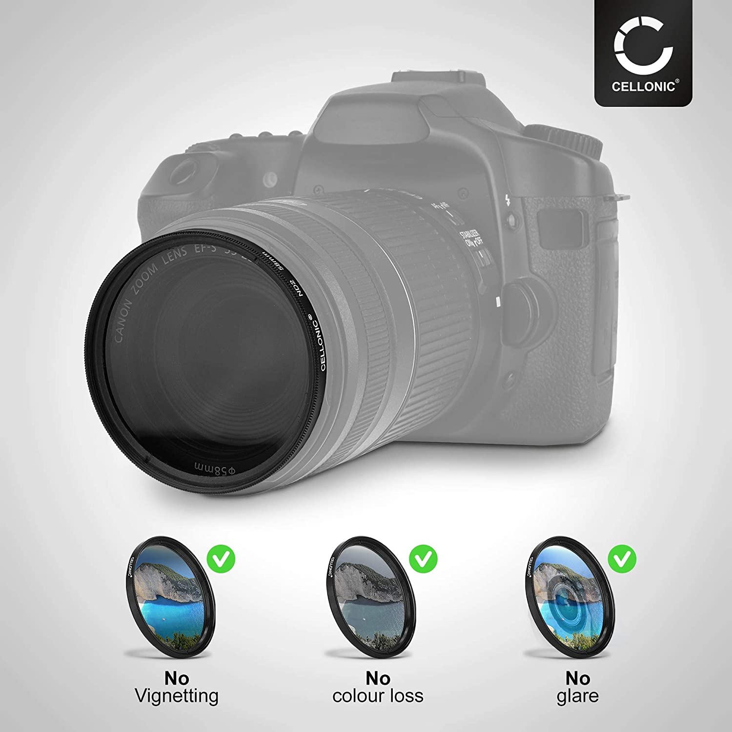 CELLONIC Neutral-density Filter ND2 compatible with Sigma 30mm Contemporary 52mm Long Exposure Filter