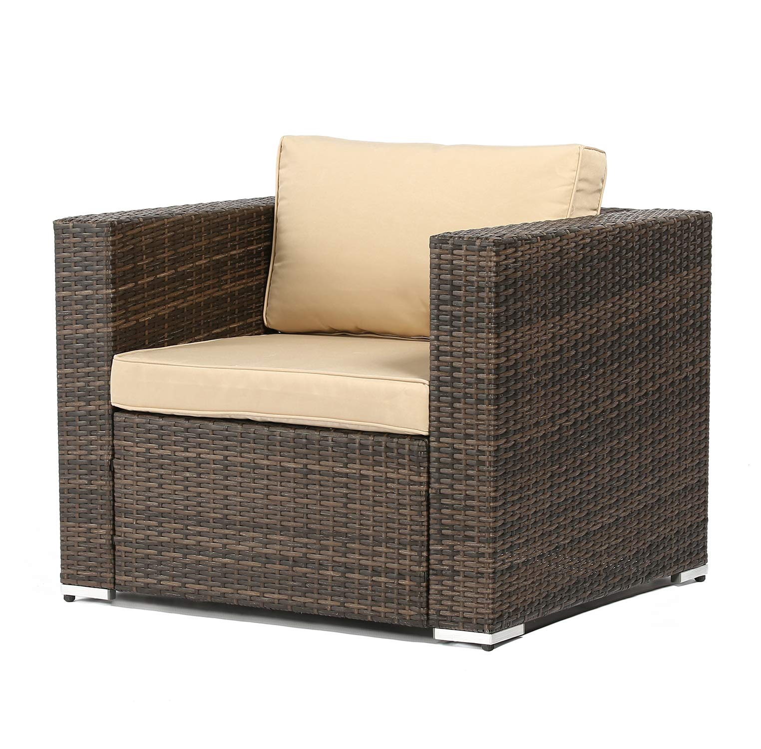 SUNCROWN Outdoor Furniture All Weather Brown Checkered Wicker Sofa Chair | Additional Chair for 4-Piece Sets | Patio, Backyard, Pool | Machine Washable Cushion Covers