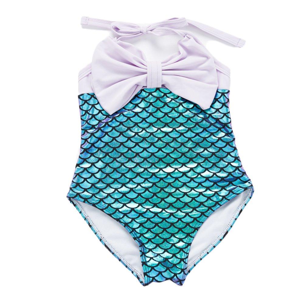 7-Mi Girls Swimming Costume, Cute Mermaid Baby One Piece Swimsuit Swimwear-2-Years