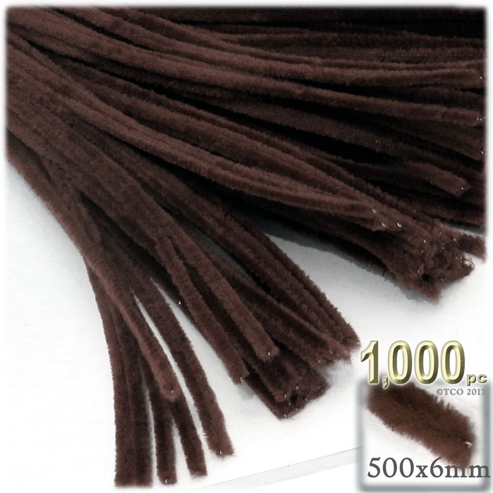 The Crafts Outlet Chenille Stems, Pipe Cleaner, 20-inch (50-cm), 1000-pc, Dark Brown