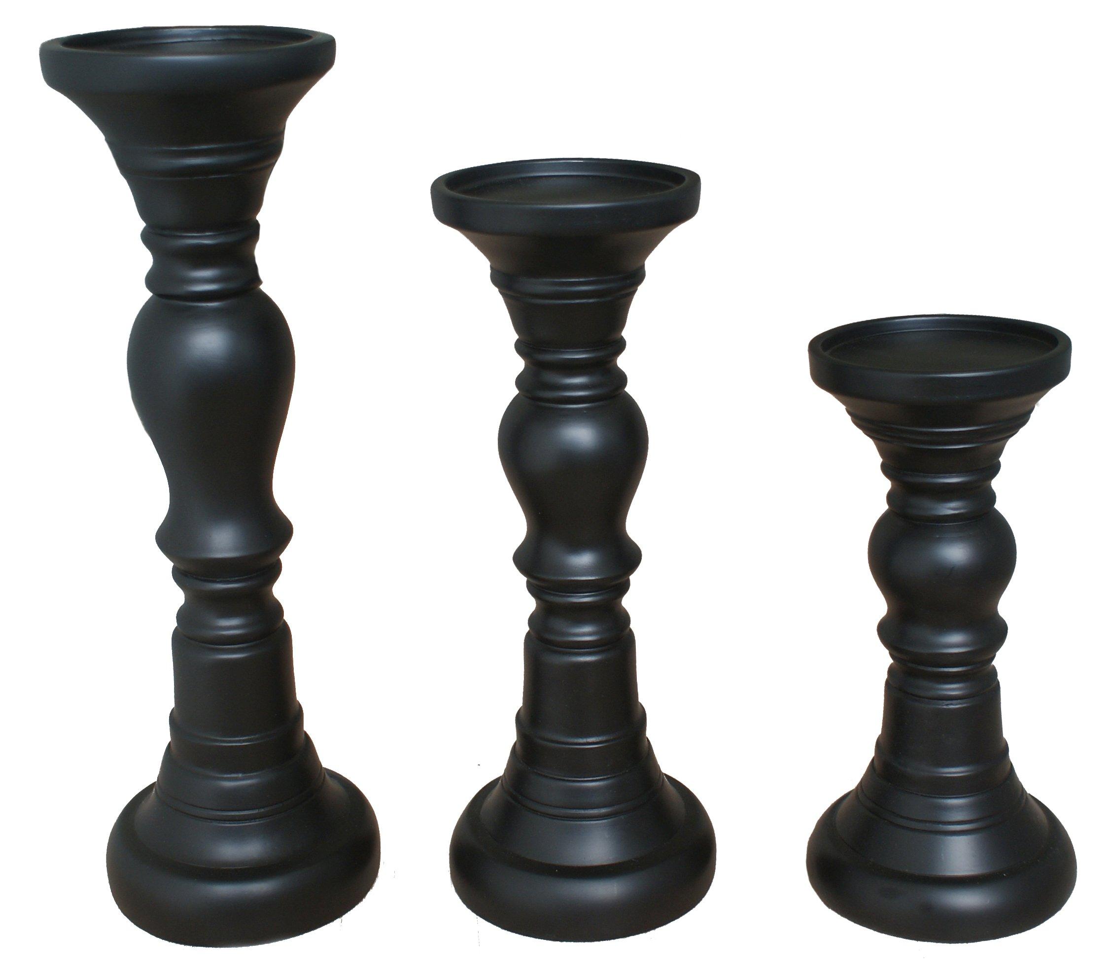 TIAAN's Set of 3 Resin Clasic Pillar Candle Holders - 12'', 10'', 8''
