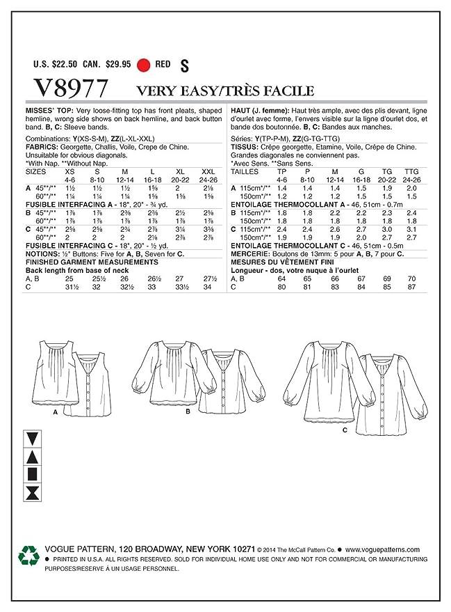 Size Y Vogue Patterns V89680Y0 Misses Dress Sewing Template XSM-SML-MED