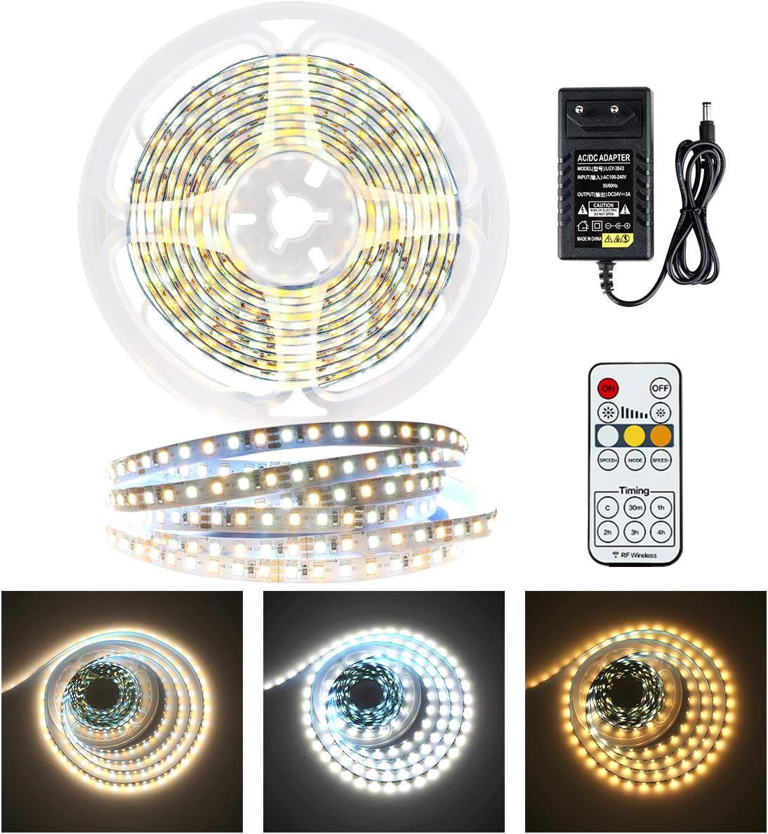 KWODE - Tira de luces LED (6 m, regulable, luz blanca cálida, neutra, luz blanca fría, con mando a distancia y fuente de alimentación, 24 V, para techo, cocina, dormitorio (3000 K/4500 K/6000 K)