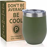 PIKE Stemless Wine Glass Tumbler, 12oz | Stainless Steel Double-Wall Insulated, w/ 2 Lids - Mothers Day Gift (Dark Olive- Matte)