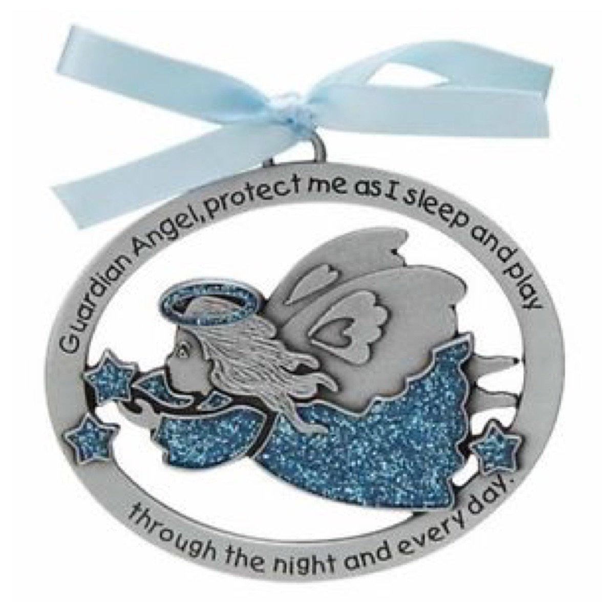 GUARDIAN ANGEL Baby CRIB Medal - CHRISTENING - BAPTISM - Shower Gift - INFANT (BOY - Blue) ca