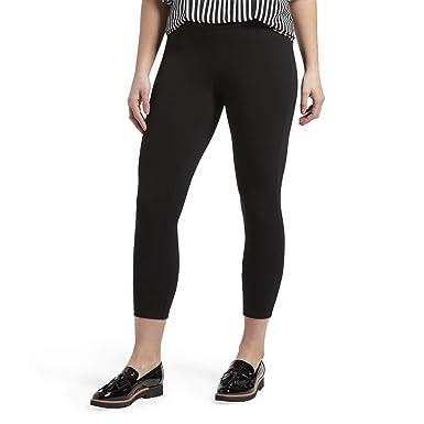 585b8be78970b HUE Women's Wide Waistband Blackout Cotton Capri Leggings, Assorted, Black,  ...