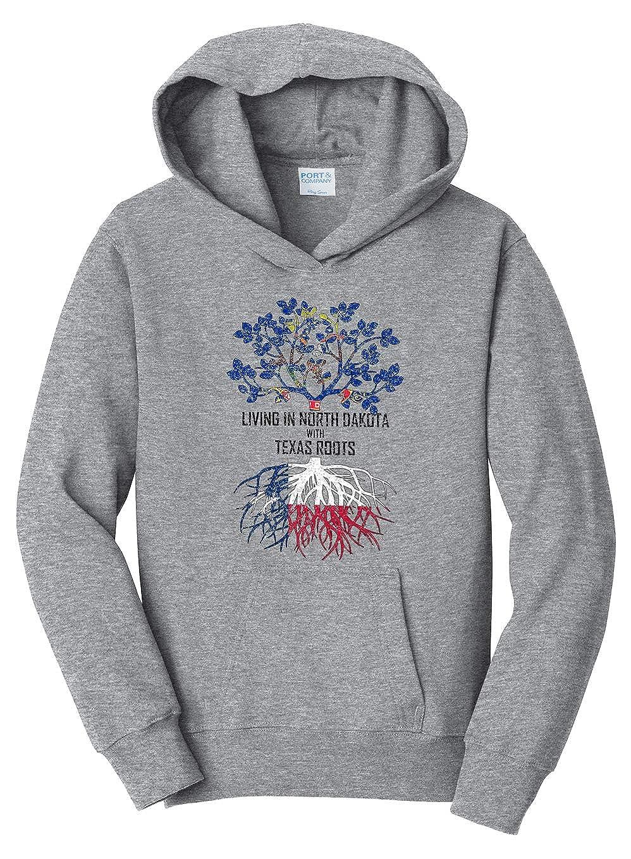 Tenacitee Girls Living in North Dakota with Texas Roots Hooded Sweatshirt