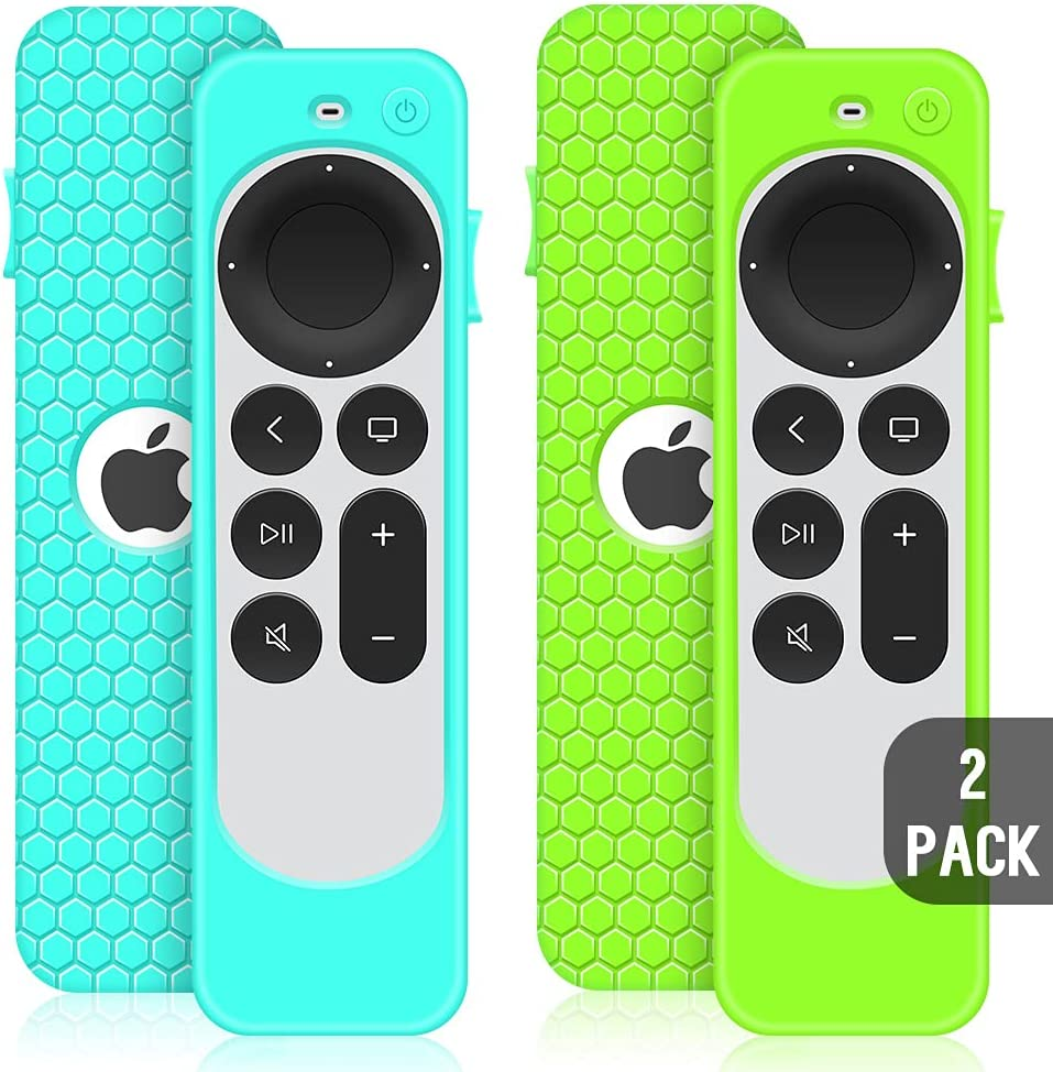 2 Pack Case for Apple TV 4K 2021 Remote Control, Protective Apple Siri Remote 2nd Generation/Apple TV 6 Generation Cover Replacement New Silicone Sleeve Skin Holder Protector-Turquoise+Green