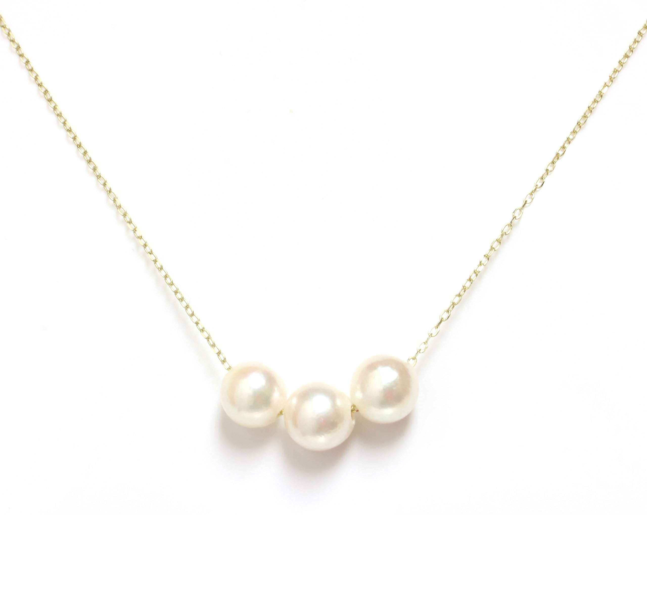 Akoya Pearl Necklace 7.5 - 8 MM 14kt Rose, White Or Yellow Gold chain 16'' or 18'' (16, yellow-gold)