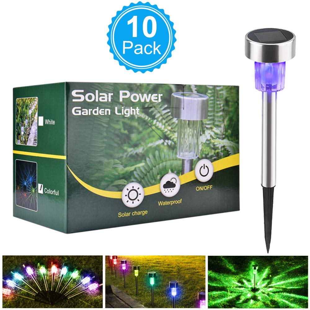 BASEIN Solar Garden Lights, Solar Lights Outdoor Pathway - Stainless Steel Landscape LED Lights for Patio, Lawn, Yard, Walkway (10 Pack) by BASEIN