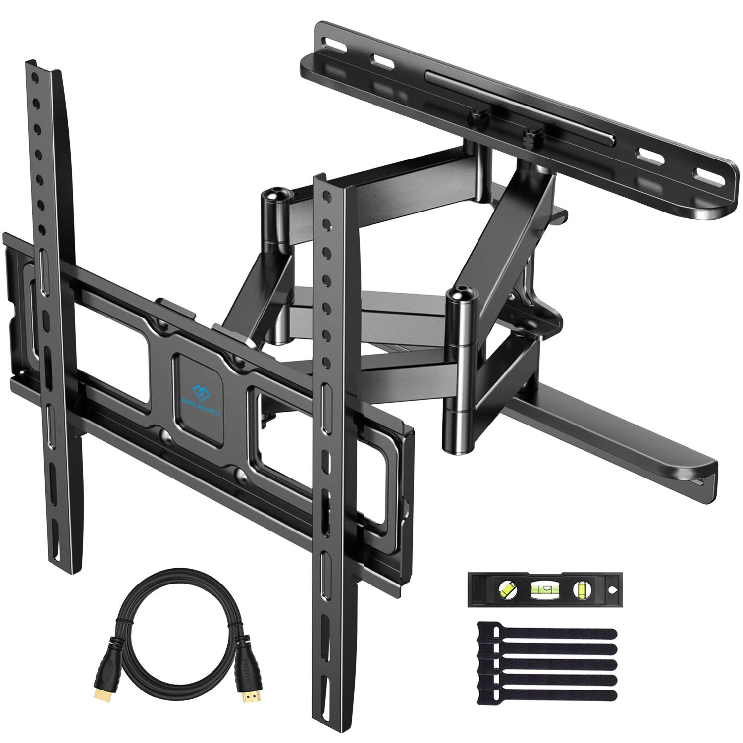 PERLESMITH TV Wall Mount for Most 32-55 Inch TVs with Swivel & Extends 16.53 Inch - Dual 6 Arms Wall Mount TV Bracket VESA 400x400 Fits LED, LCD, OLED Flat Screen TVs up to 99 lbs