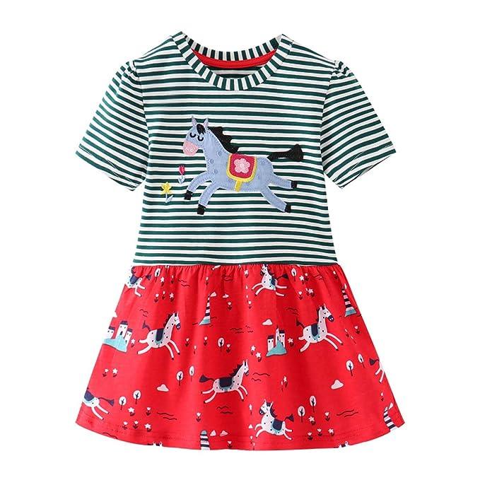 f025fa030649 Eocom Little Girls Soft Summer Cotton Short Sleeve Dresses T-Shirt Casual  Cartoon Dress Outfit