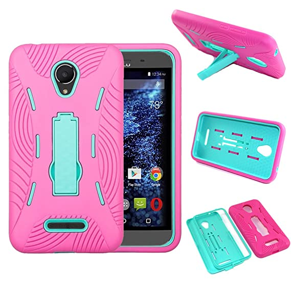 wholesale dealer 88f2d 833b4 BLU Studio XL D850Q Case - SOGA [Ribbed Protection Series] Armor Kickstand  Case Hybrid Hard Skin Phone Cover for BLU Studio XL D850Q - Teal/Hot Pink