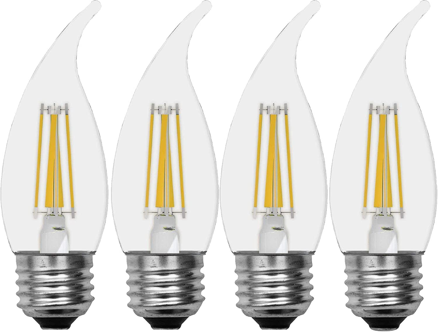 GE Lighting 43255 Relax HD LED (60-Watt Replacement), 500-Lumen Candle Bulb, Medium Base, Soft White Clear, 4-Pack, Title 20 Compliant