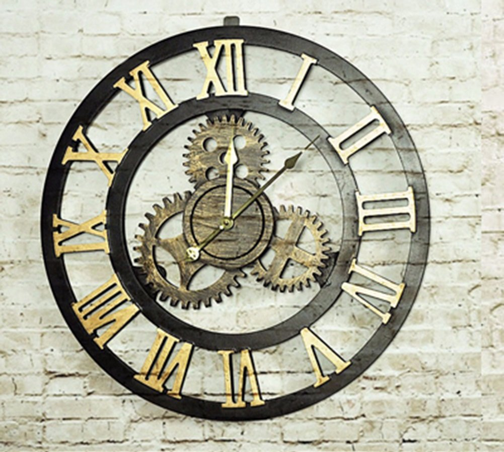 CSQ ギアの壁時計、リビングルームのレストラン寝室の壁時計ホームバーフラワーショップの装飾レトロ壁時計の直径70CM ウォールクロックと掛け時計 (色 : #2, サイズ さいず : 70*70センチメートル) B07DPJXDSR#2 70*70センチメートル