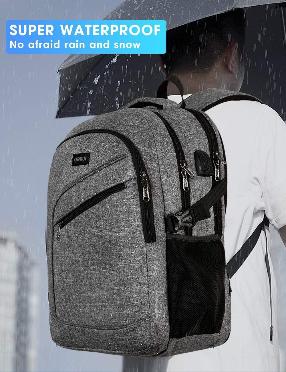 mochila para el d/ía a d/ía con puerto de carga USB Mochila para ordenador port/átil bolsa para ordenador port/átil para hombre y mujer mochila impermeable para el d/ía a d/ía mochila escolar de viaje