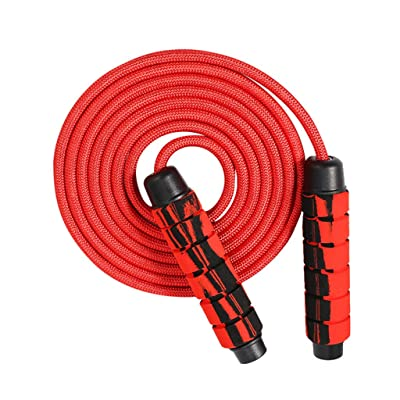 Crazypig Professional Ball Double Bearing Jump Rope Weighted Cotton Rope Adjustable Length, for Cardio, Endurance Training, Fitness Workouts, Jumping Exercise (Red) : Sports & Outdoors