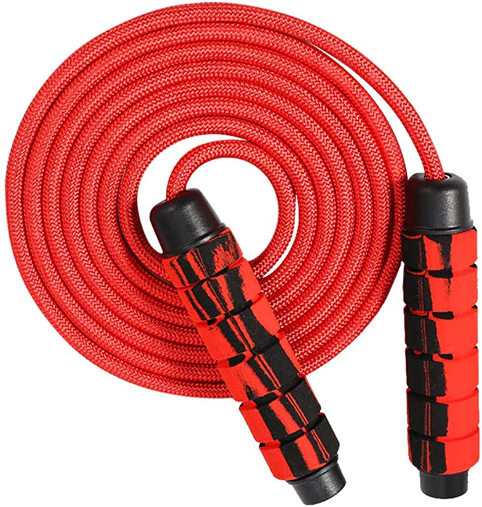 Double Ball-Bearing Weighted Cotton Adjustable Length Jump Rope Fitness Exercise