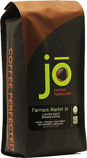 FARMERS MARKET JO | 12 oz Organic Ground Coffee | Light Medium Roast | 100% USDA Fair Trade Kosher Certified | Gourmet GMO Free Gluten Free Organic Arabica Coffee from Jo Coffee