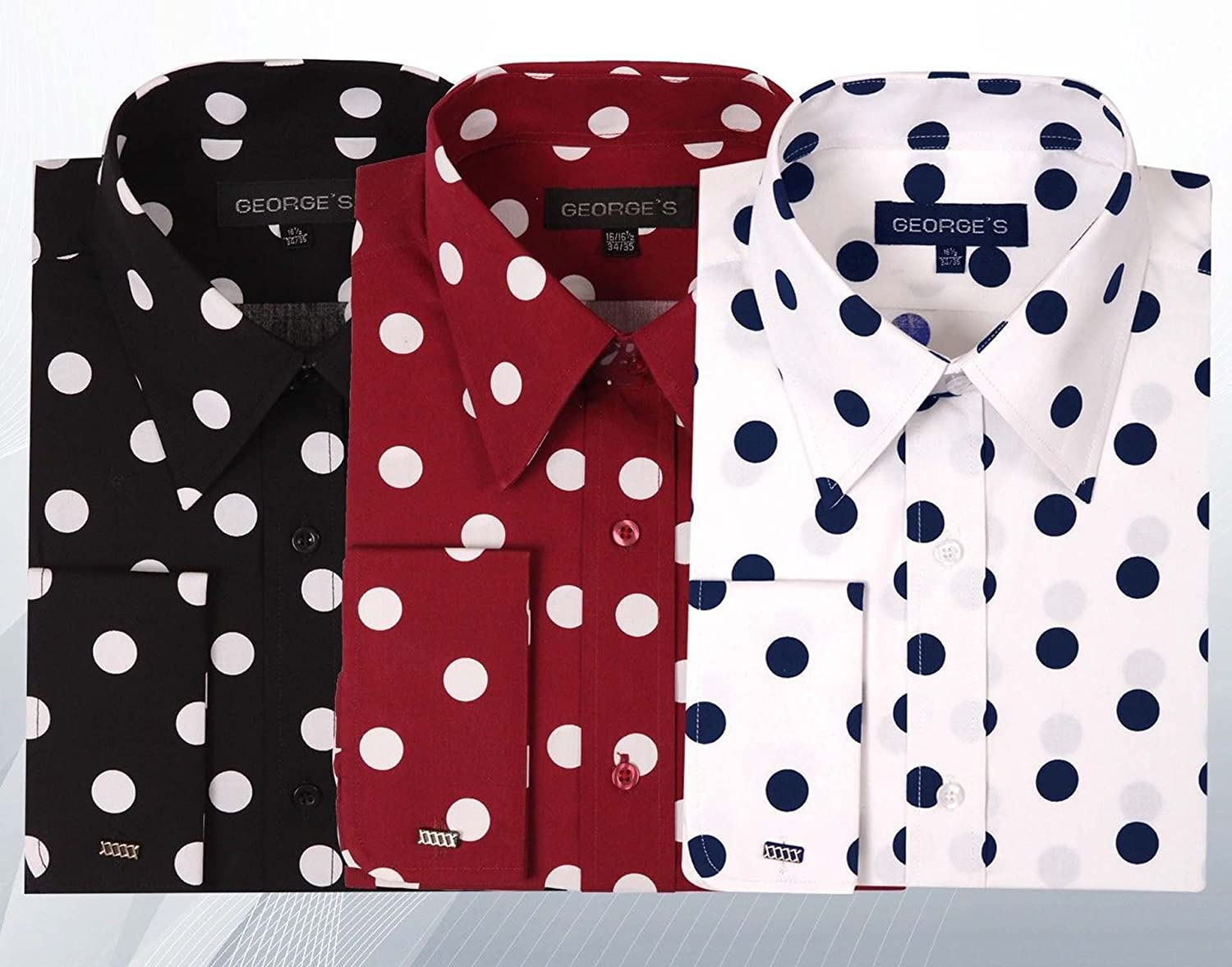 George's Big Polka Dot Pattern Shirt With French Cuff AH616-BK-18 ...