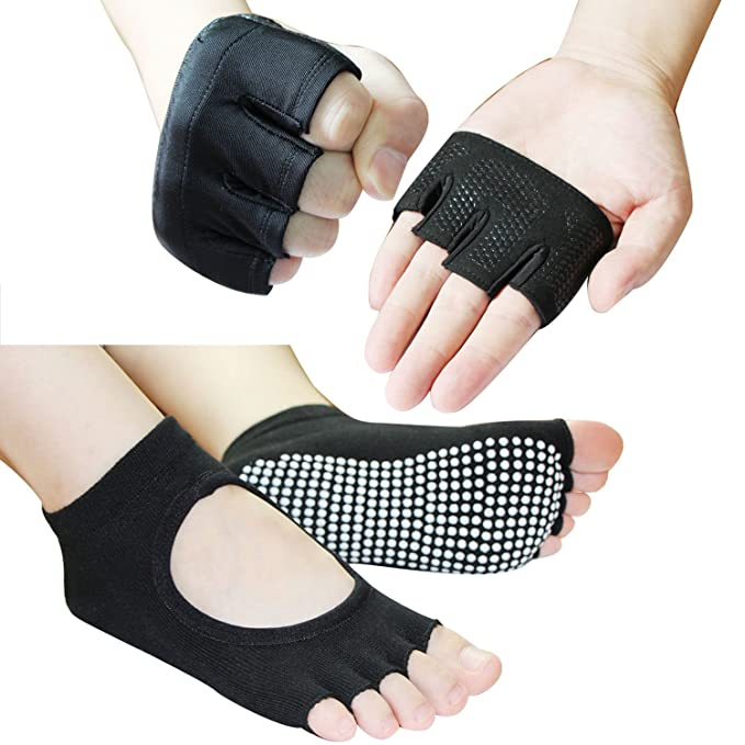 Toeless Yoga Pilates Socks and Yoga Gloves Set -Anti Slip (L ...