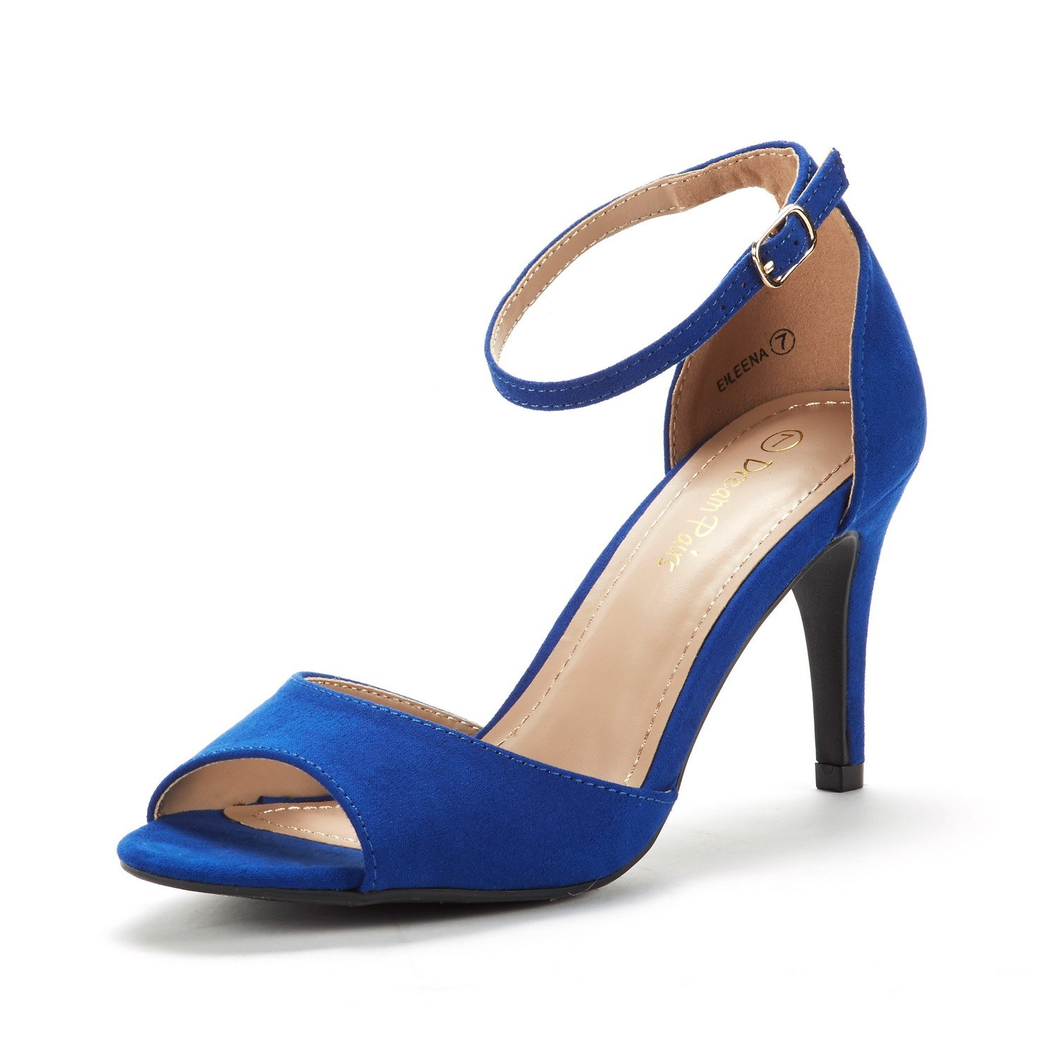 DREAM PAIRS Women's EILEENA Royal Blue Fashion Stilettos Peep Toe Pump Heeled Sandals Size 10 B(M) US