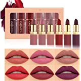 OKENTEN 6 Colors Matte Lipstick Set Waterproof Long-Lasting Moisturizing Makeup Lipsticks Nude Lipstick Makeup Gift Set labia