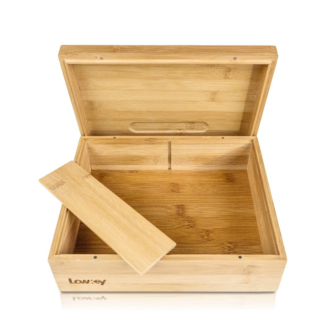 Lowkey Rolling Tray Stash Box - Extra Large Storage Space - Lid Converts Into Rolling Tray - Subtle Design to Organize All Smoking Accessories