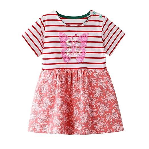 1bbc9d54e997a Amazon.com: Baby Girls' Sundress Sequins Strawberry/Butterfly ...