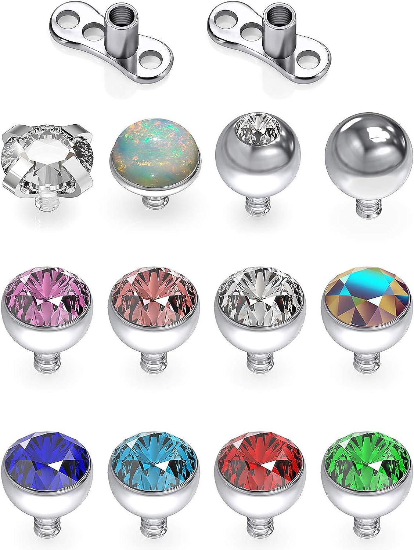 SCERRING 14G Dermal Piercing Jewelry Anchor Tops and Base Titanium Microdermals Piercing for Women Men Opal CZ Ball 2mm 3mm 4mm 14PCS