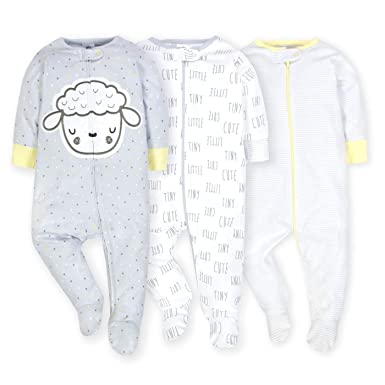 b548a508aa Amazon.com  Gerber Onesies Baby Boy Sleep N  Play Sleepers 3 Pack ...