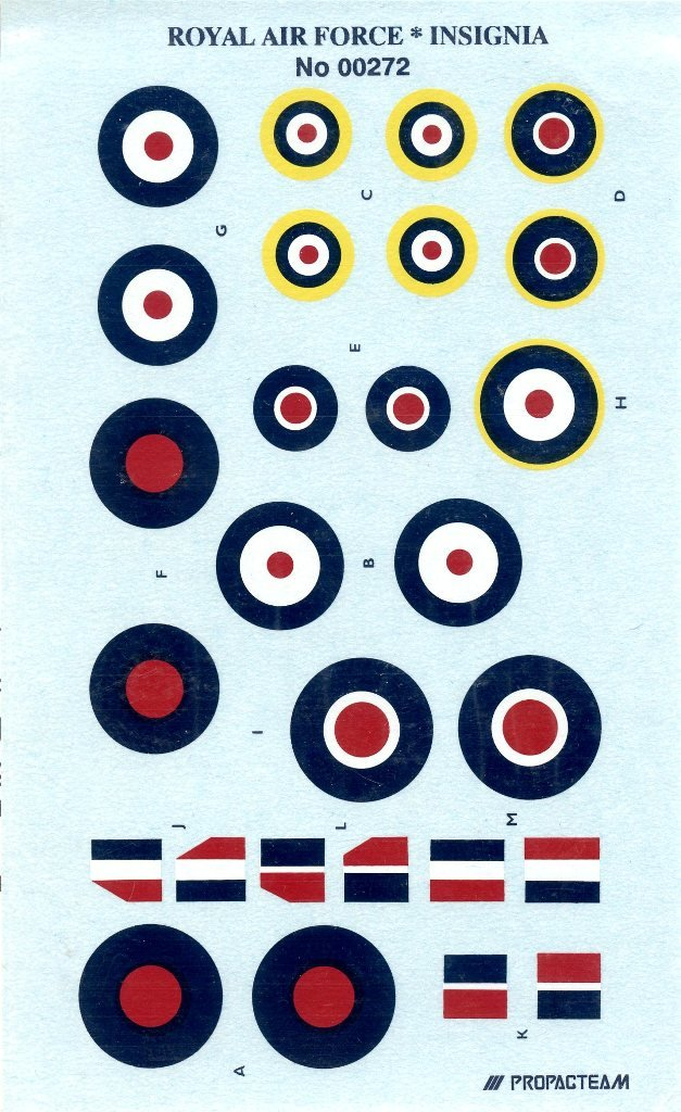 : Propagteam Decals 1:72 Royal Air Force Insignia