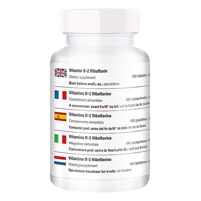 Vitamina B2 Riboflavina 100mg - 180 tabletas para ¡¡6 MESES!! - mayor energía, metabolismo, cabello más sano, protección celular: Amazon.es: Salud y cuidado ...