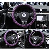 Cdycam Non-slip Universal PU Leather Car Steering Wheel Cover with Crystal Crown Diamond ,Durable, Soft , 15 inch Size (Purple)
