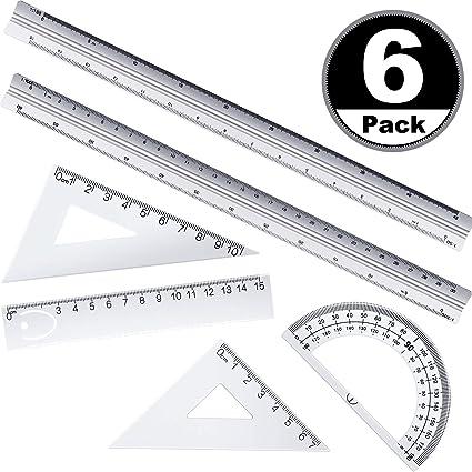 6 Reglas de escala arquitectónica, regla de ingeniería y juego de regla de metal de 12 pulgadas, regla de ingeniería triangular de 12 pulgadas, herramienta de dibujo ...