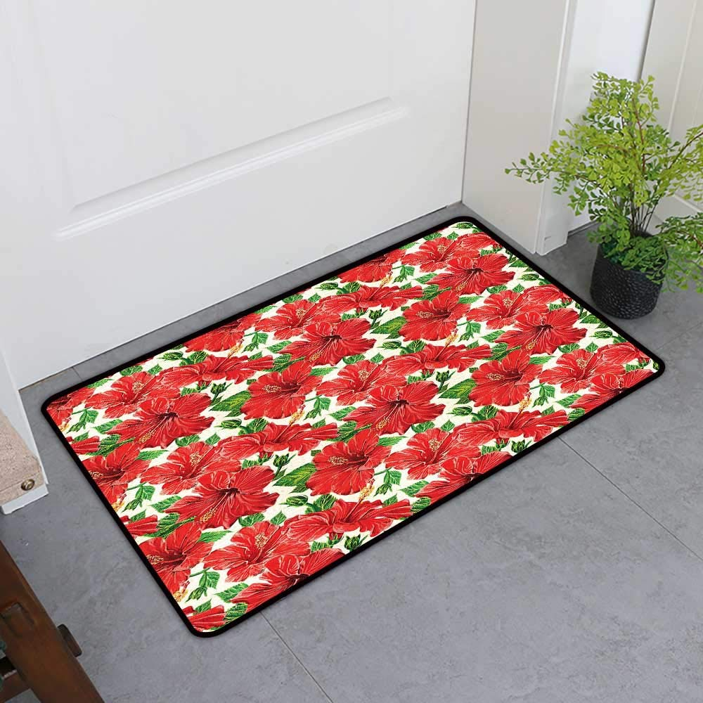 TableCovers&Home Pet Mat Machine Washable, Hawaii Non-Slip Doormats for Office, Botanic Inspirations Floral Bouquet Hand Drawn Red Hibiscuses Retro Theme (Beige Fern Green Red, H36 x W60)
